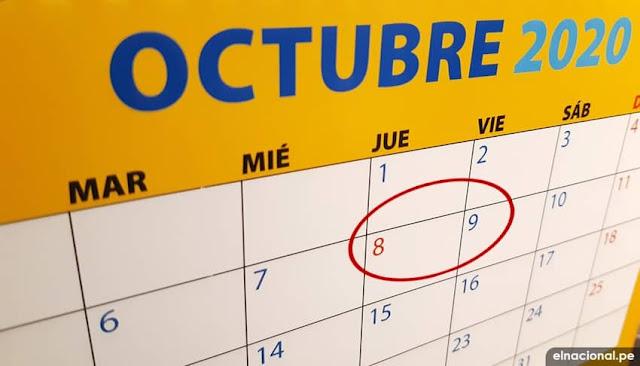 Por que no sera feriado 8 de octubre 2020