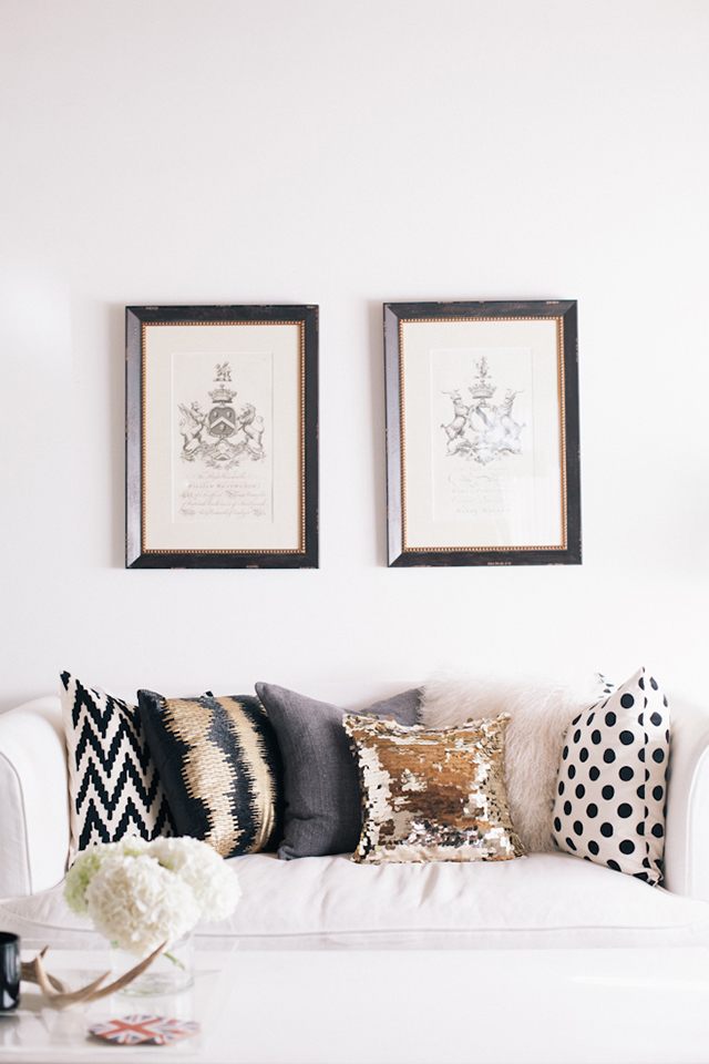 Pretty Little Details Inspiration Files // Neutral living space with gold sequinned pillow.