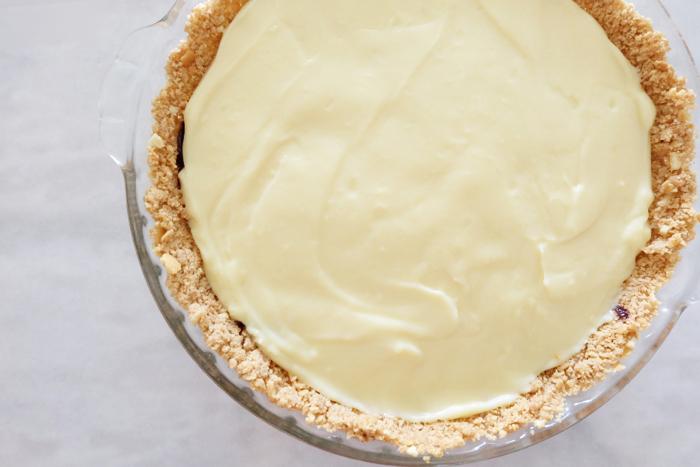 fudge bottom pie viewed from above