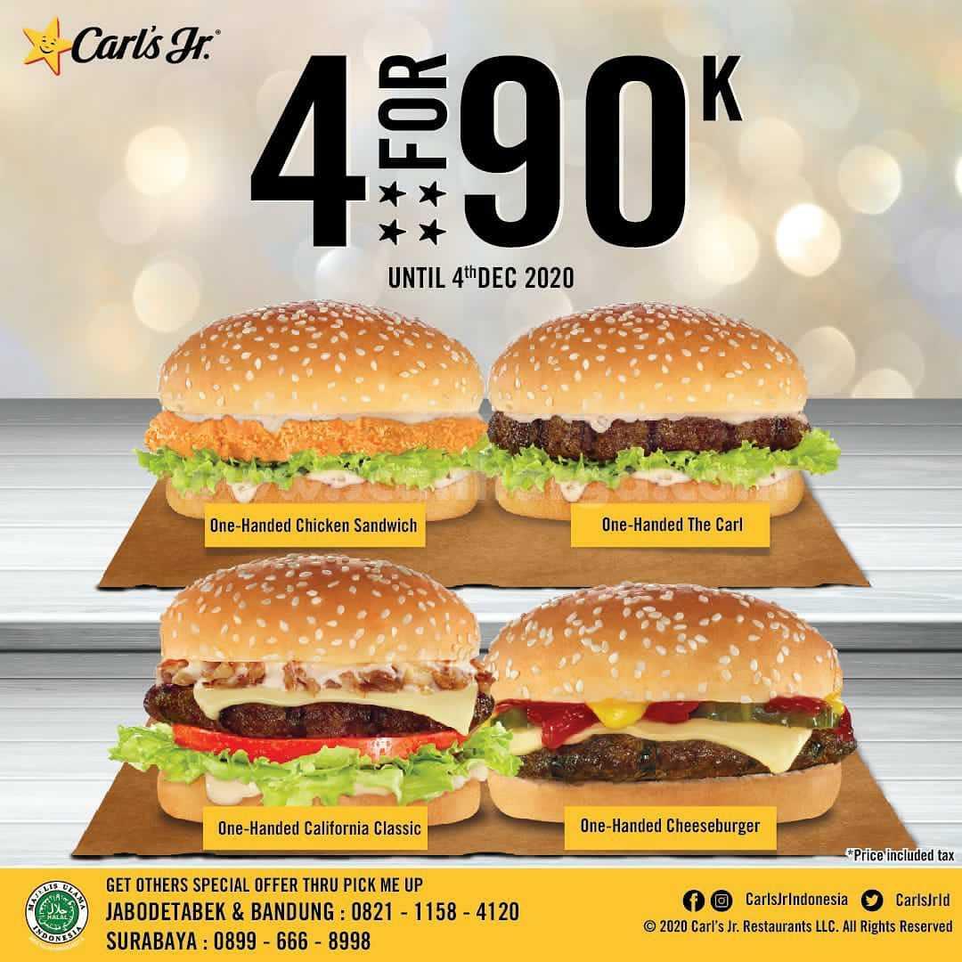 Carls Jr Promo 4 For 90K – Harga Paket 4 Burger Hanya Rp 90.000*
