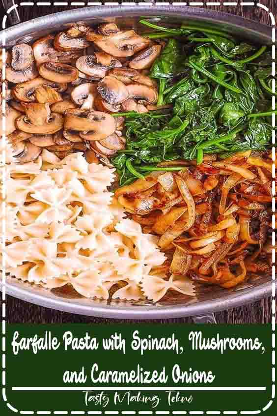 Creamy Farfalle with Spinach, Mushrooms, and Caramelized Onions.  The bow-tie pasta is perfectly matched with rich and buttery Parmesan sauce!  Serve this easy meatless Italian meal as-is, or with grilled chicken!  Satisfying and comforting dinner that a whole family will love!