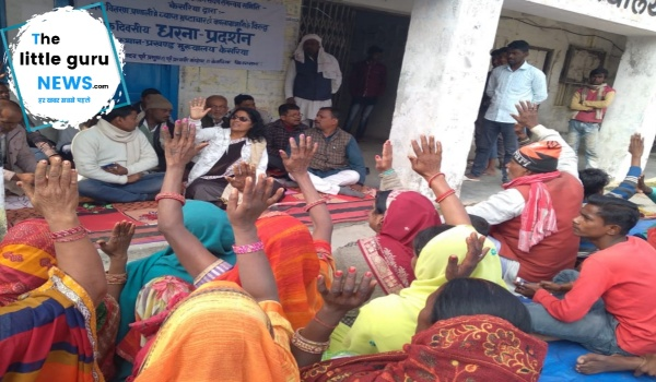 People protest against pds in Kesariya