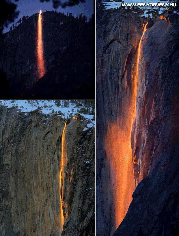 A természet ereje: Yosemite vízesés ömlő lávába fordul