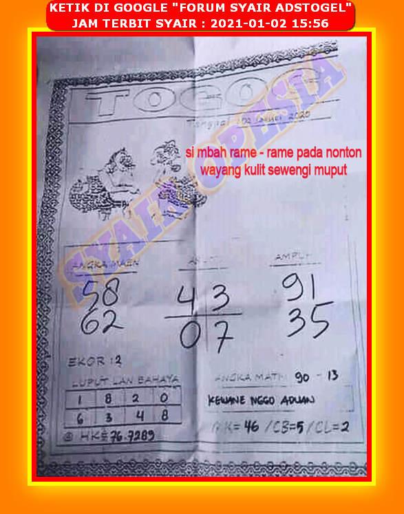 Syair batik hk 2 januari 2021