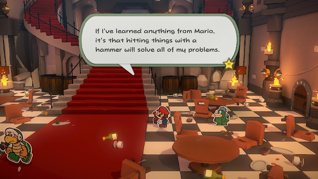 Paper Mario The Origami King hitting things with hammer solves all problems Shy guy Bowser's Castle