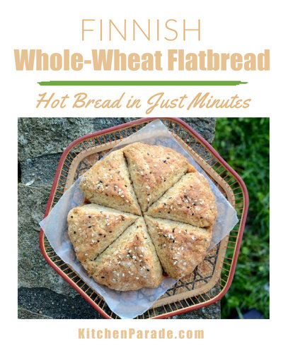Finnish Whole-Wheat Flatbread ♥ KitchenParade.com, hot bread on the table in minutes.