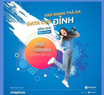Miễn phí 60GB data 3G/4G với gói D60G của Vinaphone