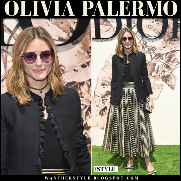 Olivia Palermo in black tassel jacket and printed pleated maxi skirt dior haute couture show july 3 2017 paris