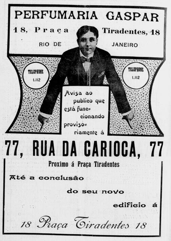 Anúncio antigo da Perfumaria Gaspar na cidade do Rio de Janeiro em 1913