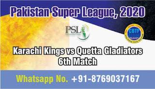 Karachi Kings vs Quetta Gladiators Pakistan Super League 6th T20 100% Sure