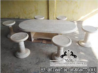 meja kursi batu marmer
