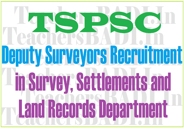 TSPSC,Deputy Surveyors,Survey, Settlements and Land Records Department