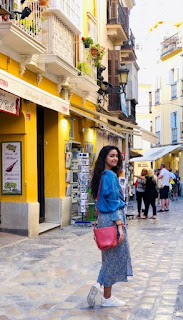 Keerthy Suresh in Blue Dress with Cute Smile at Malaga Spain Diaries