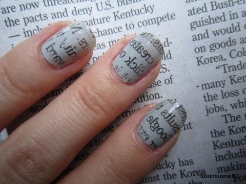 Nail Art Motif Newspaper