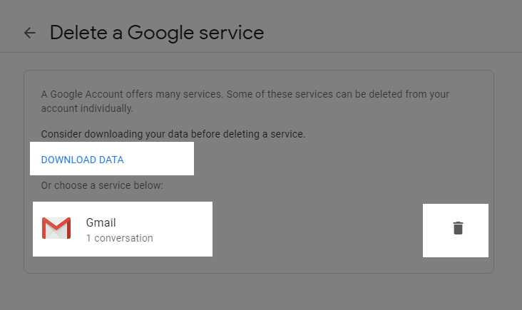 Download the data (optional) or delete the Gmail - Thanalysis
