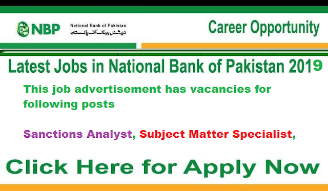 Jobs in National Bank Sanction Analyst , Subject Matter Specialist.