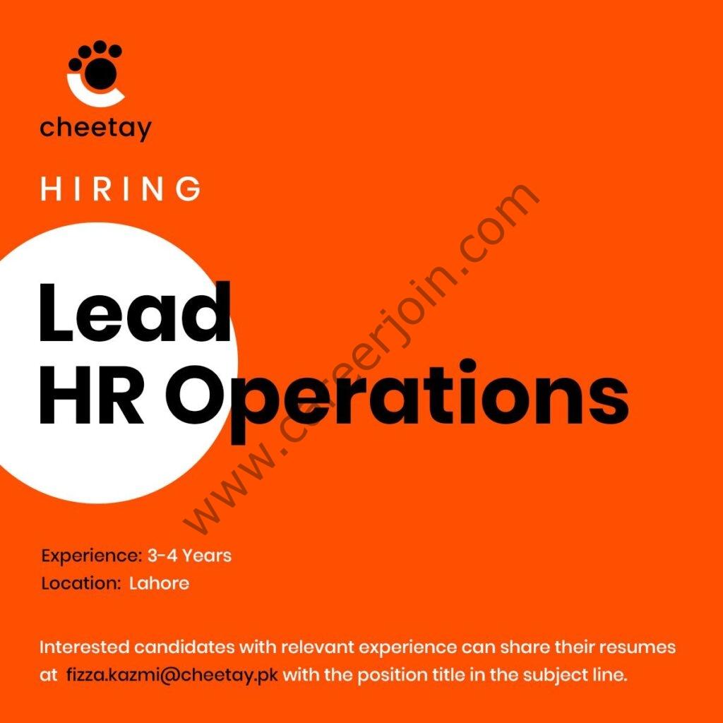 Cheetay Pakistan Jobs Lead HR Operations