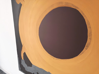 """Michel Carmantrand ROOSTER'S EYE, 170x170x4cm (67x67x1.6""""), gesso and acrylic paint on canvas."""