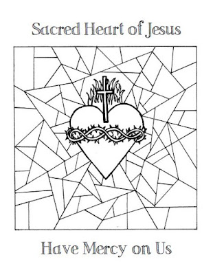 Click Here For A Coloring Page With The Picture Stained Glass Background And Sacred Heart Of Jesus Have Mercy On Us