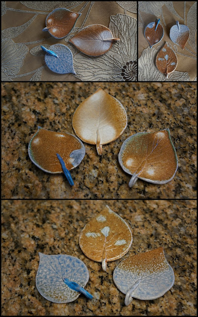 Soda fired ceramic leaves by Lily L.