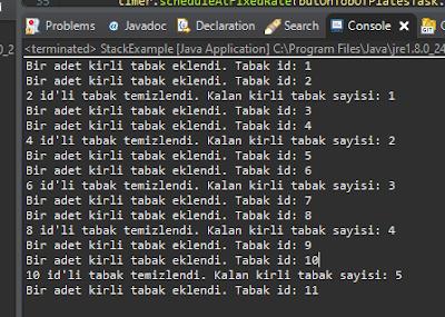 Java stack tabak yıkama output