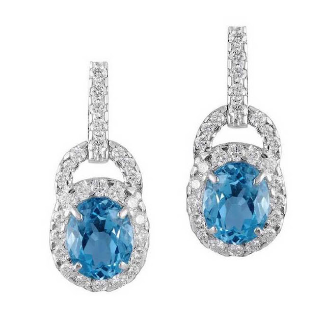 Velvetcase.com - Aquamarine Diamond Earring - Rs 1,71,029