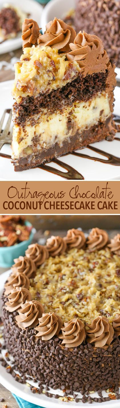 OUTRAGEOUS CHOCOLATE COCONUT CHEESECAKE CAKE