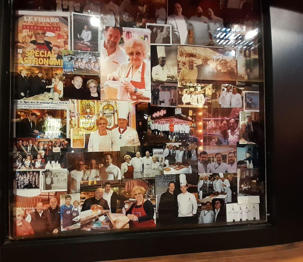 Le mur de photos de Colette - Photo prise aux Halle Bocuse