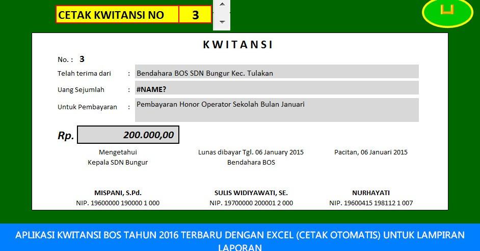 Aplikasi Kwitansi Bos Tahun 2016 Terbaru Dengan Excel Cetak
