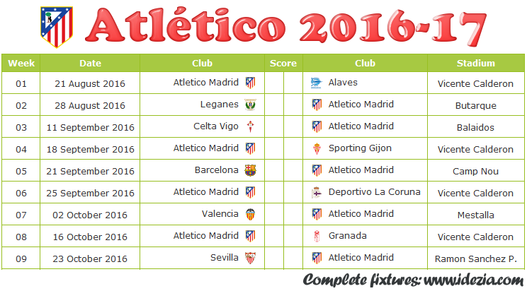 Download Jadwal Atletico Madrid 2016-2017 File JPG - Download Kalender Lengkap Pertandingan Atletico Madrid 2016-2017 File JPG - Download Atletico Madrid Schedule Full Fixture File JPG - Schedule with Score Coloumn