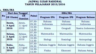Jadwal UN SMA/MA SMK/MAK Tahun 2016