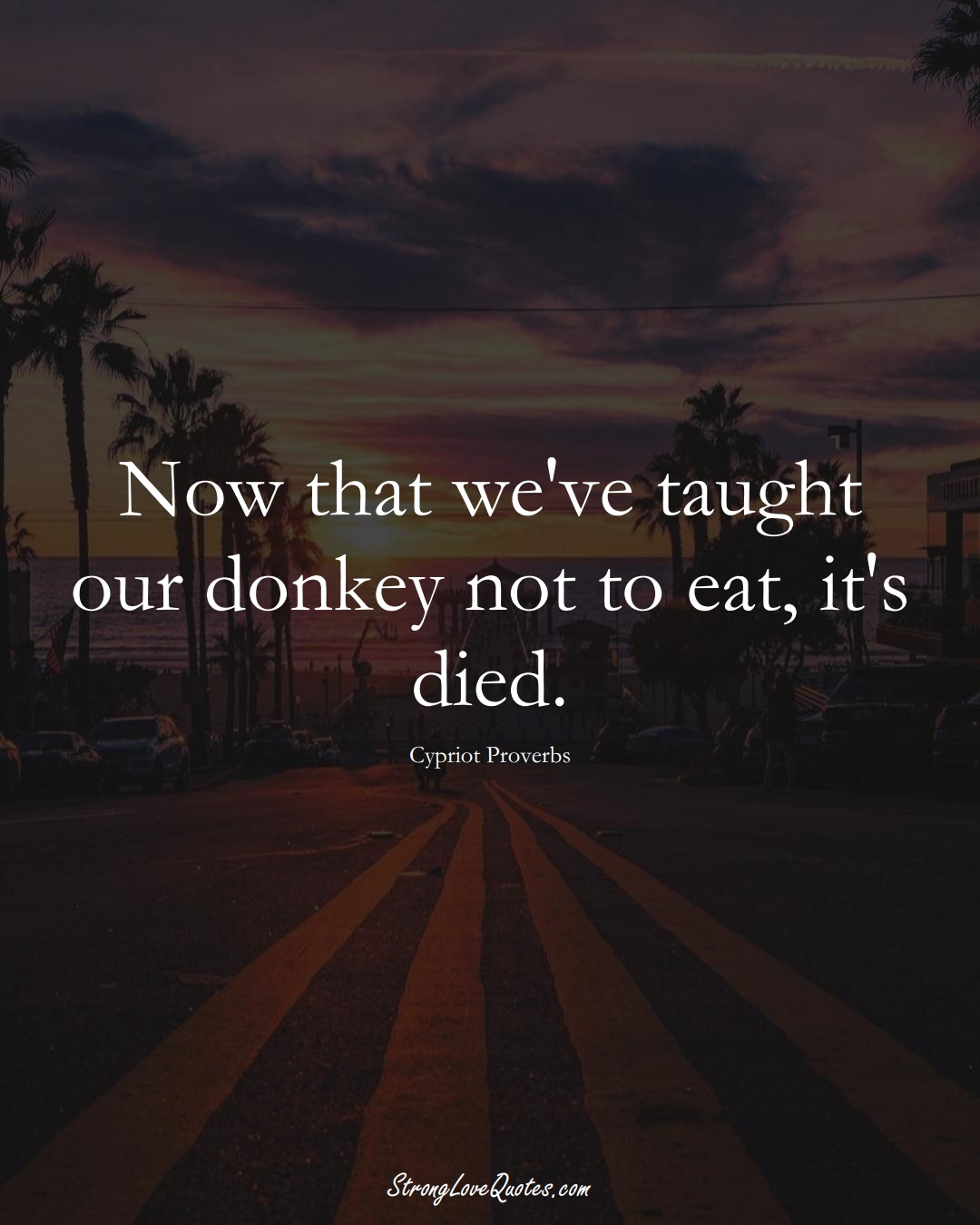 Now that we've taught our donkey not to eat, it's died. (Cypriot Sayings);  #MiddleEasternSayings