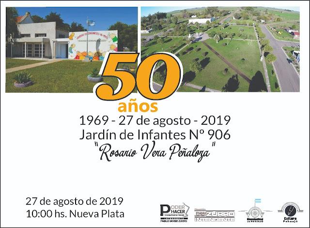 """Nueva Plata: Se aproxima el 50 aniversario del Jardín de Infantes Nº 906 """"Rosario Vera Peñaloza"""""""