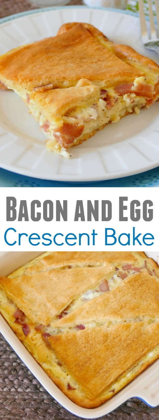 This easy breakfast bake is fast, delicious and great for any occasion, including holidays, breakfast, brunch or dinner! The whole family will love it and you can use sausage instead of bacon, bell pepper instead of onion or cheddar instead of pepper jack cheese!