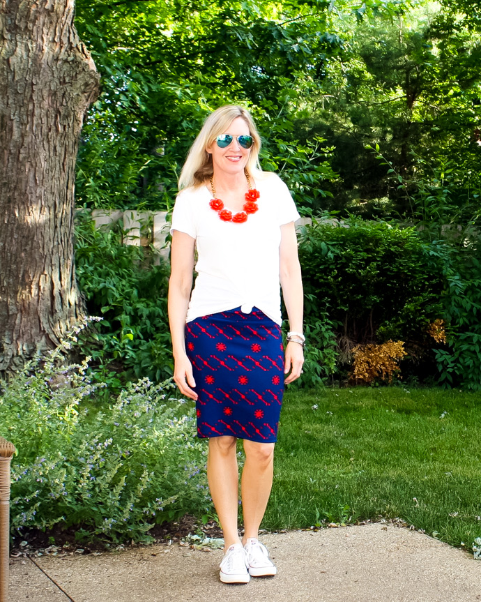 red and blue midi skirt outfit