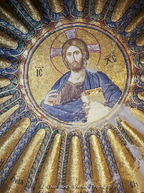 Detalle Mosaico del Cristo Pantocrátor y sus antepasados, San Salvador de Cora - Estambul por El Guisante Verde Project