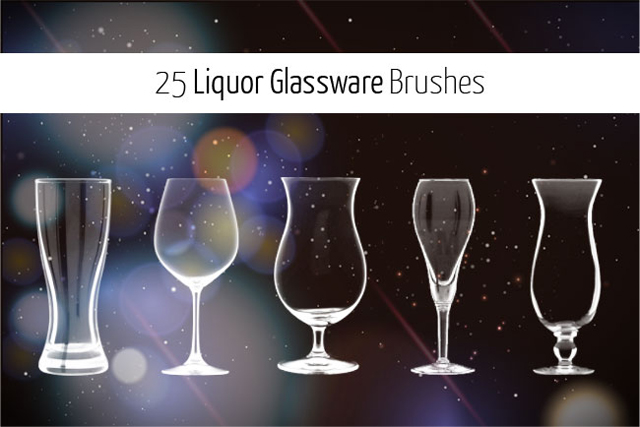 25 Liquor Glassware Photoshop Brushes