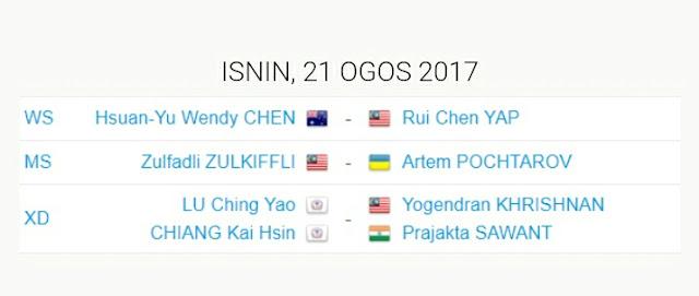 Jadual Kejohanan Badminton Dunia 2017 Glasgow