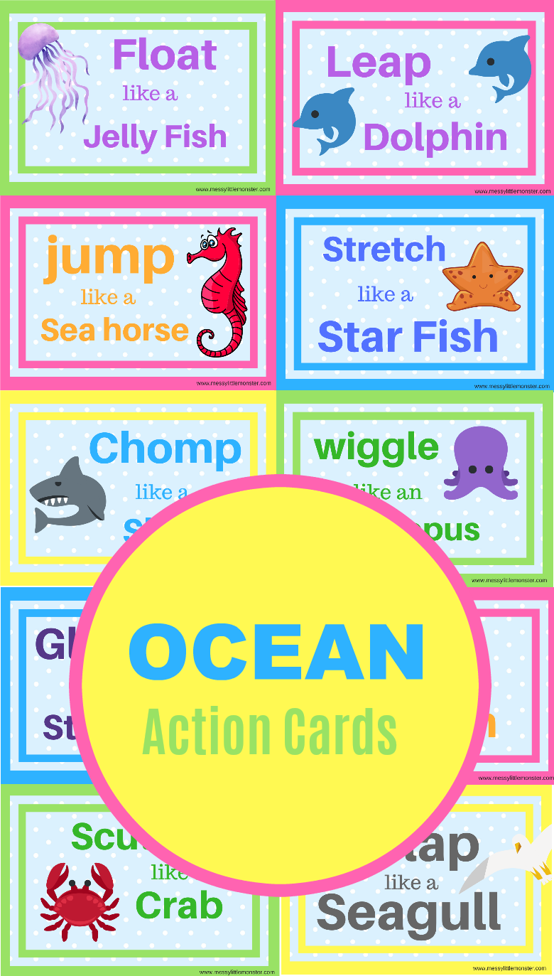 Ocean animal movement cards printable. Use as movement break cards