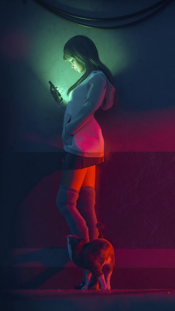 HD anime wallpaper girl holding cellphone