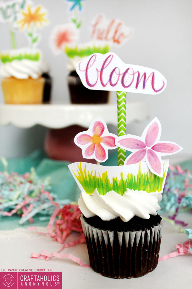 bloom, cupcake topper, hand lettering, flowers, illustrations, free download