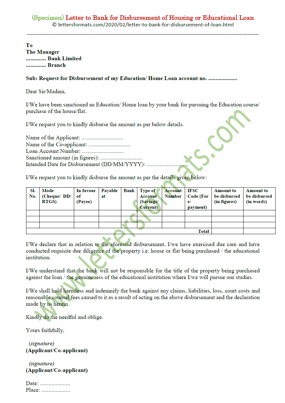 Letter to Bank for Disbursement of Housing or Educational Loan