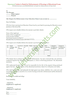 request letter to bank manager for housing loan disbursement