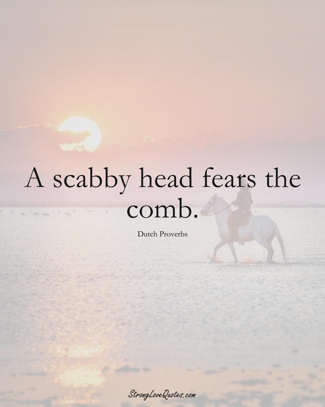 A scabby head fears the comb. (Dutch Sayings);  #EuropeanSayings