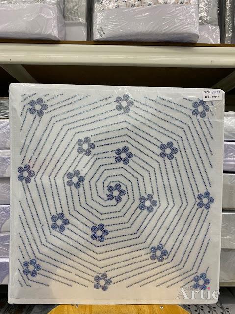 Hotfix stickers dmc rhinestone aplikasi tudung bawal fabrik pakaian sarang labah-labah dgn bunga bunga maroon blue on blue