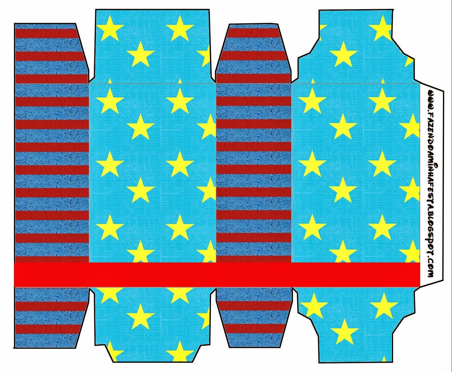Cajas de Estrellas sobre Fondo Celeste para imprimir gratis.
