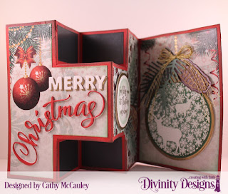 Stamp/Die Duo: Deer Ornament, Paper Collection: Christmas 2017, Custom Dies: Half-Shutter Card with Layers, Merry Christmas, Pinecones & Pine Branches, Pierced Circles, Circles