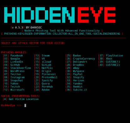 Hidden Eye Most used Phishing Tool for Termux - 2020