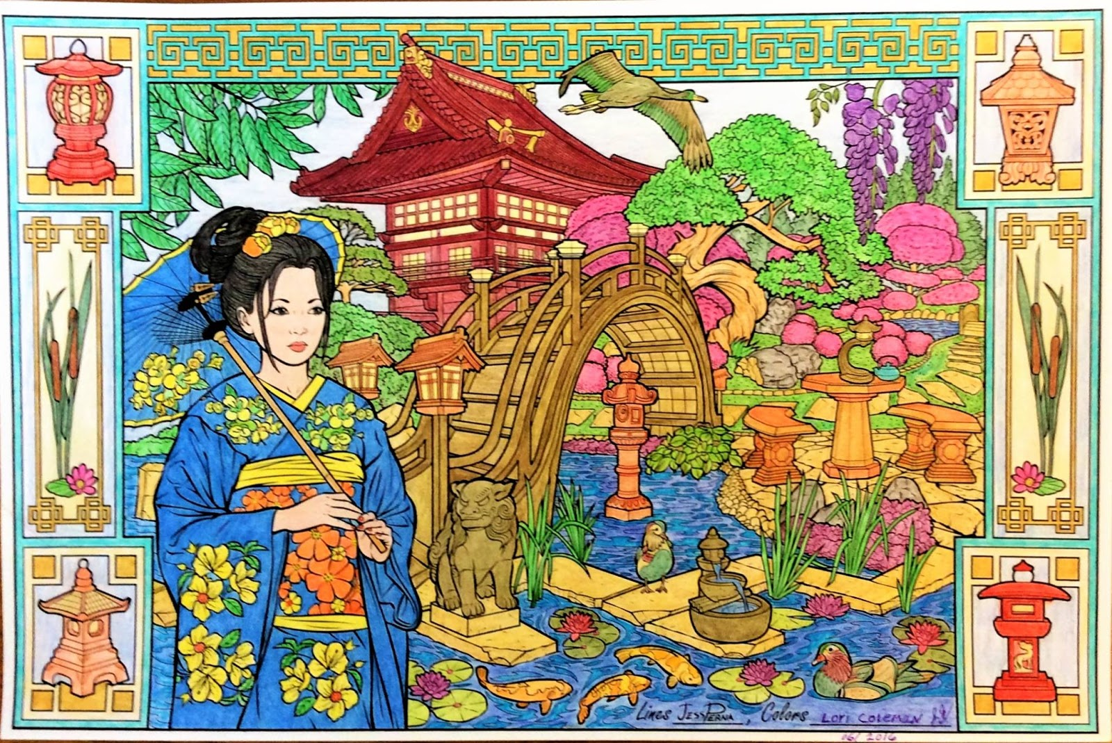 The coloring book poster - Japanese Garden Geisha Adult Coloring Book Poster