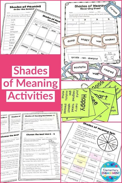 Awesome references and activities for students to practice shades of meaning!